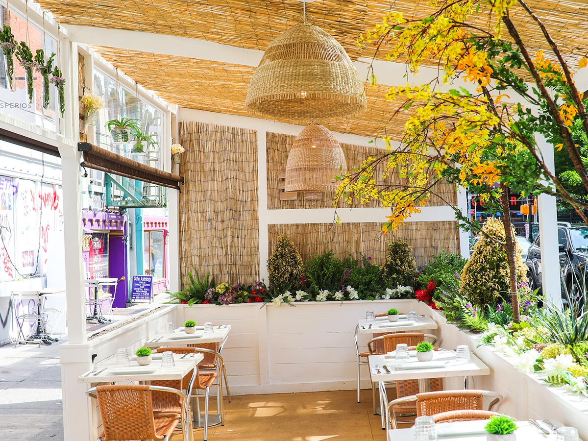 Inside view of the Jardin patio area at Areppas in SoHo, New York.